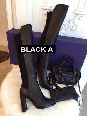 【BLACK A】獨家精品 Stuart W-eitzman Hijack 黑色羊皮/麂皮過膝靴高跟 韓版空運 明星同款