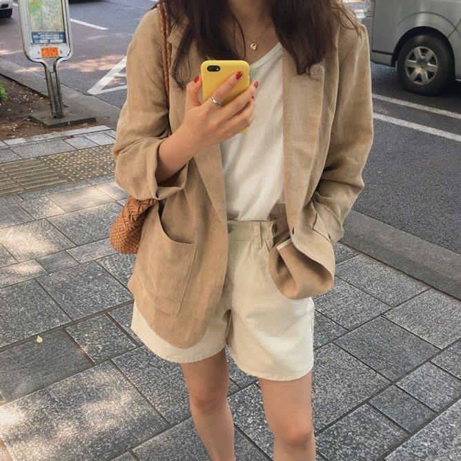 薄外套 超好搭好看棉麻西裝外套 艾爾莎 【TGK7835】