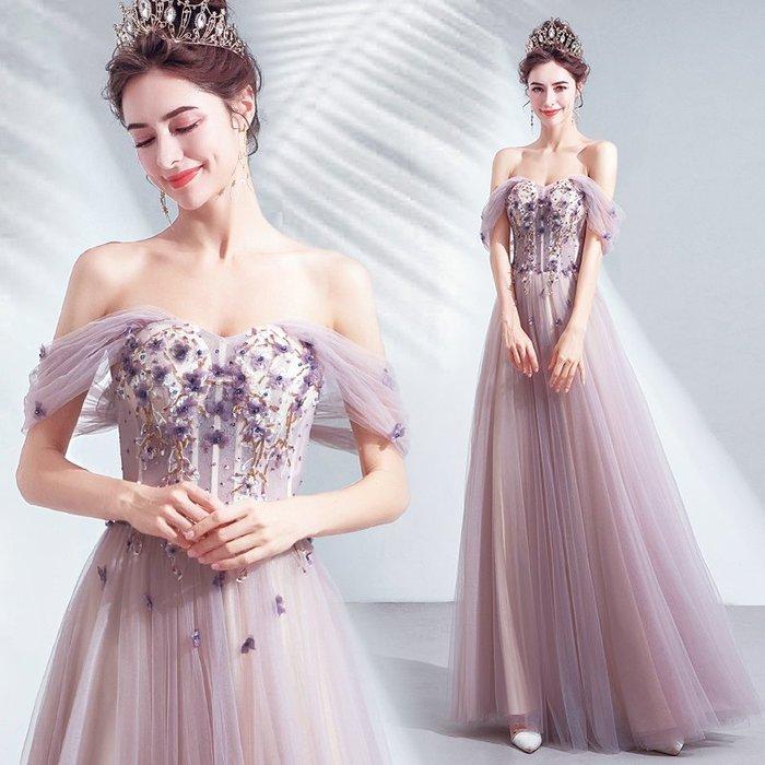 妞妞 婚紗禮服~淡雅烟粉紫色婚紗宴會婚纱長禮服~3件免郵