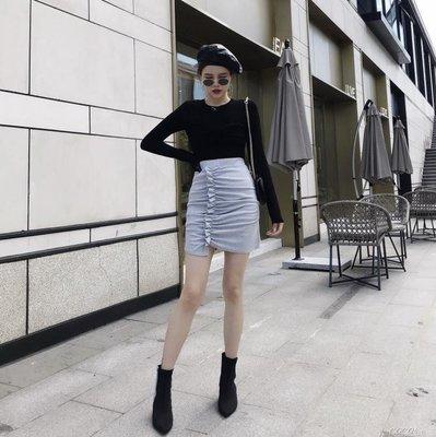 百褶裙 韓版時尚鬆緊腰不規則打皺百褶半身裙女包臀裙短裙子顯瘦