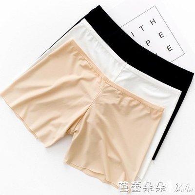 襯裙 冰絲波浪邊無痕三分褲防走光安全褲 一片式女士三分打底褲保險褲