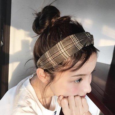 林小宅百搭英倫學院風格子條紋髪帶日韓甜美交叉松緊布藝髪箍頭帶
