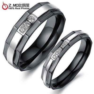 情侶對戒指 Z.MO鈦鋼屋 情侶戒指 立體戒指 白鋼戒指 立體對戒 水鑽戒指 線條款 刻字【BKY435】單個價
