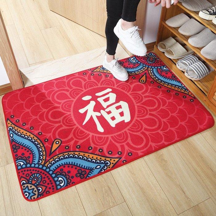 小花花精貨店-中式結婚地毯臥室門口喜慶開運地墊紅色福字進門墊子防滑腳墊吸水