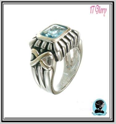 紐約時尚【休閒時尚個性品味■時尚戒指】線條簡約Tiffany藍色晶鑽  ~ 歐美設計~ #現貨✽ 17 Glory  ✽