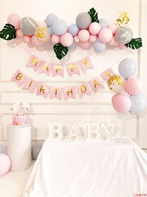 氣球 婚房佈置 開業裝飾 節慶裝飾 生日派對女孩生日裝飾場景氣球裝飾品嬰兒寶寶一周歲主題兒童背景墻布置酒
