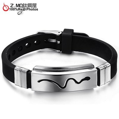 矽膠皮手環 線條符號設計 多孔設計可調整長短 男生禮物 單件價【CKLS966】Z.MO鈦鋼屋