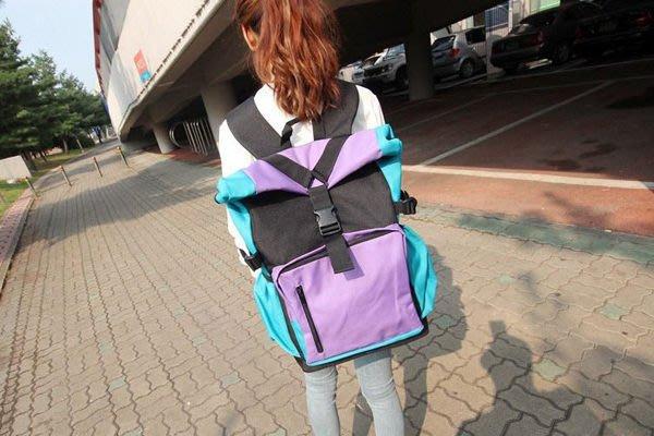 HappyLife【YV2691】韓系潮流休閒學院風撞色雙肩包 後背包 背包 書包 旅遊旅行收納 310