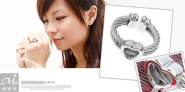 ☆情人節 甜蜜的禮物〈甜美見證-愛心鋼索〉不鏽鋼戒指(608-16-1)*請先確定顏色戒圍款式再下標
