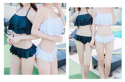 【Hao Da】全館399免運↘「現貨」平口荷葉 綁帶二件式比基尼 泳衣泳裝 (S2003)