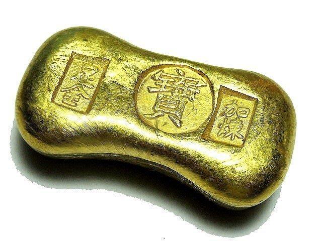 【 金王記拍寶網 】T741 早期 寶字 加煉足金 金塊一個 罕見稀少~