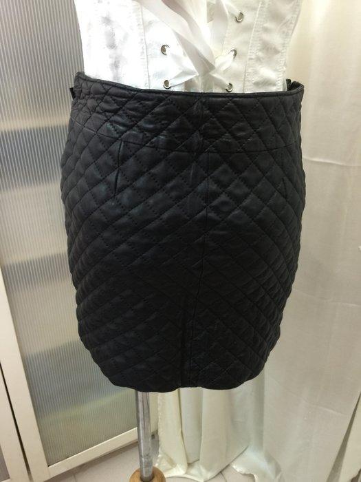出清羽竹店鋪 %真皮草 羊皮格子厚短裙24腰  尺寸S