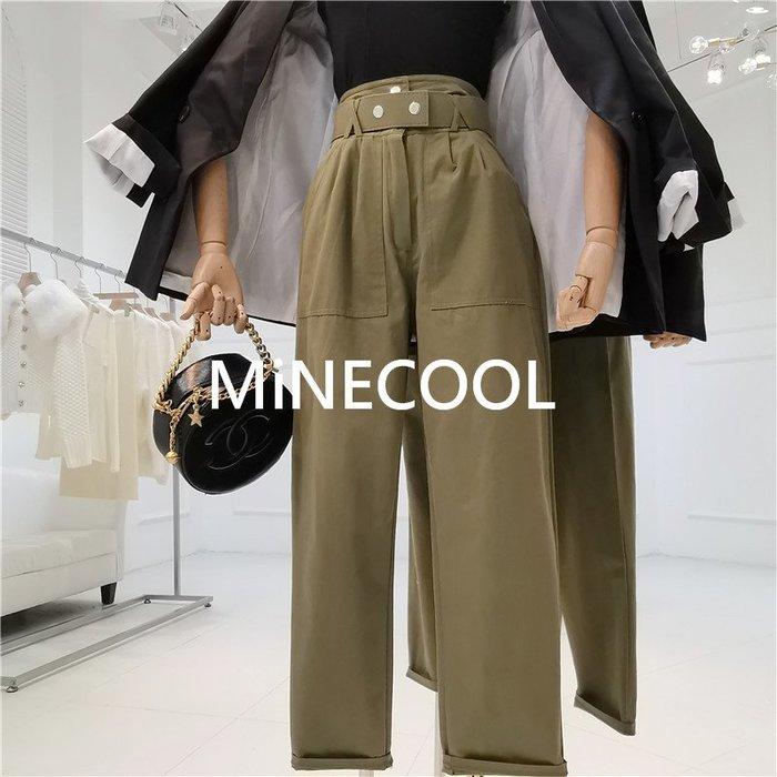 MiNE SHOP韓版高腰修身系帶卷邊休閒褲M9322-5三色 S M