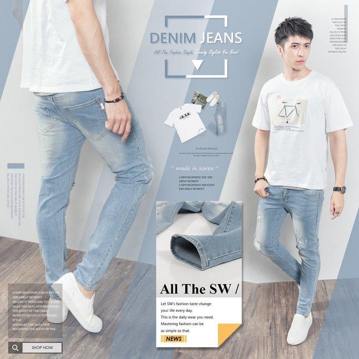 。SW。【K91656】正韓PE 韓國製 修身 觸感舒適 淺藍刷白 抽鬚破壞 挺實彈性單寧布 扣環牛仔褲 英倫 GD
