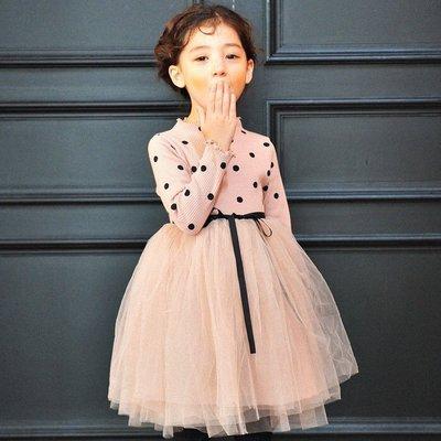 秋冬季 韓版 女童針織波點 圓點連身裙 紗裙 洋裝