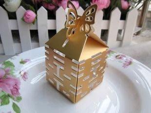 【氣球批發廣場】超人氣 婚禮金色裸空囍字 喜糖盒 包裝盒 糖果盒 婚禮包裝  直購1.5元