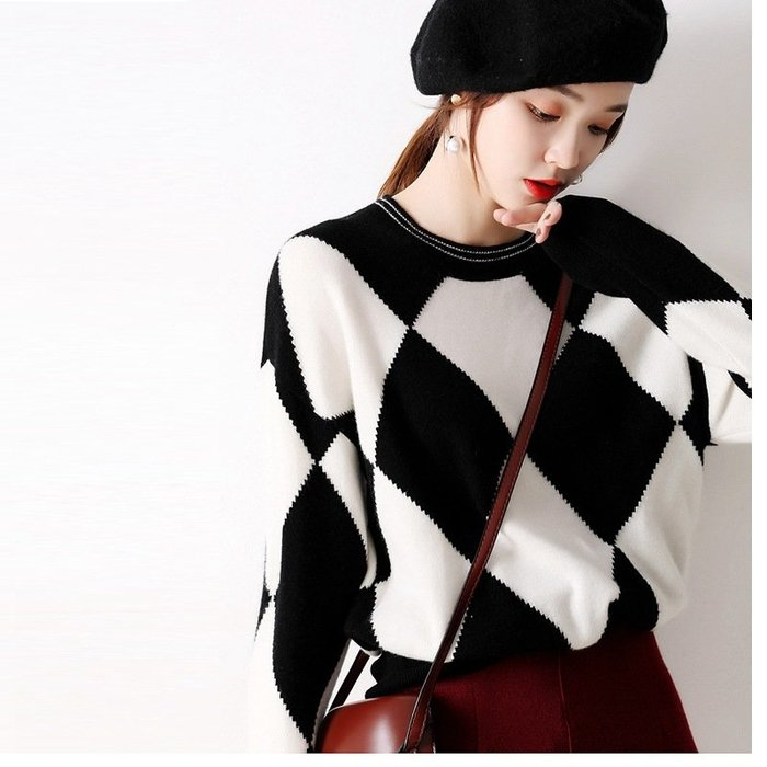 氣質菱形格羊毛針織衫 1307