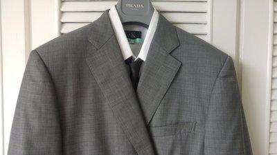 歐碼54【D'URBAN】黑標SUPER120' S 灰色單排兩扣西裝上衣