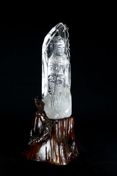 《博古珍藏》天然巴西白水晶寶瓶觀音菩薩坐像.998公克.頂級全美.鎮宅開運風水.信徒結緣.底價回饋