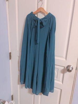 雪紡寬褲裙 藍 全新