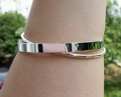 嗨,寶貝銀飾珠寶* 925純銀☆999純銀 時尚精品 光面雙環 實心純銀手環 手鐲(較寬版)