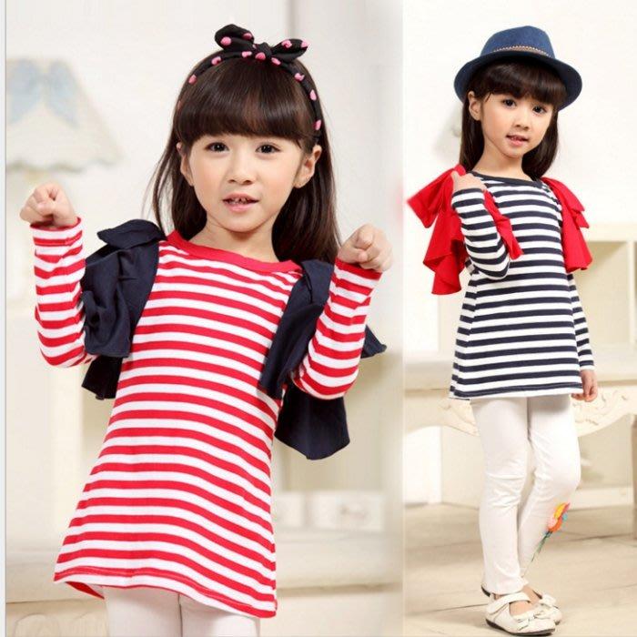 韓版《條紋蝴蝶結》甜美長袖上衣 (L2-2)