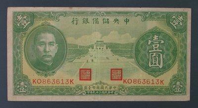 dp3222,民國29年,中央儲備銀行1元,約86%新。