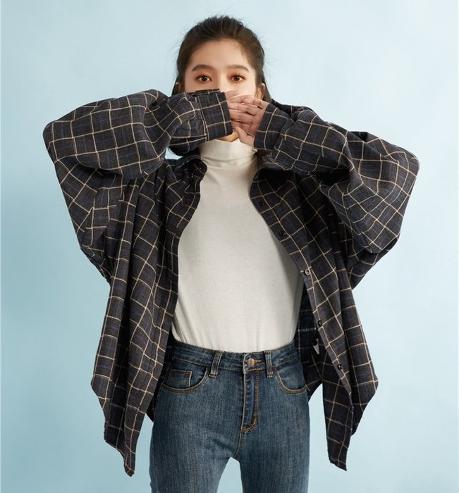 SeyeS  street雜誌英倫自然風古著中性設計感格紋襯衫外套