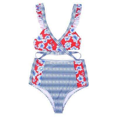 BEAUTY AMIU2021新款高腰分體比基尼泳衣 性感拼接數碼印花后背系帶女泳裝