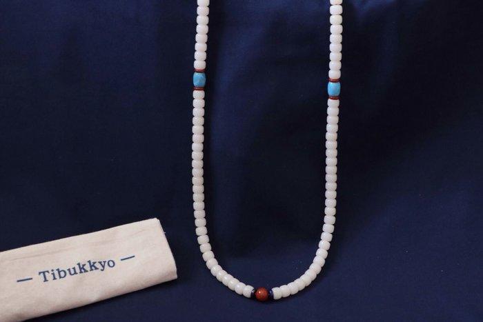 現貨 Tibukkyo A+高拋 白玉菩提 7x9桶珠 108顆 貝葉棕 長鏈 飾品 烤色海藍寶 天然果實 乳白