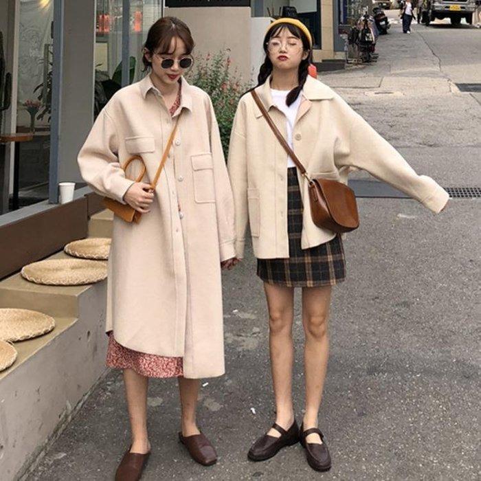 森系短款2018流行呢子大衣秋冬女裝新款韓版寬松中長款毛呢外套女