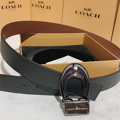 91305 新款男士牛皮材質 雙C扣頭 雙面使用皮帶 可自由裁剪腰帶