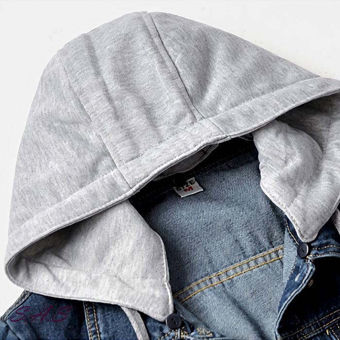 SAS 韓版帽T牛仔短外套 女外套 顯瘦連帽夾克 寬鬆牛仔外套 假兩件帽T外套 外套 牛仔外套女 丹寧外套【1209C】