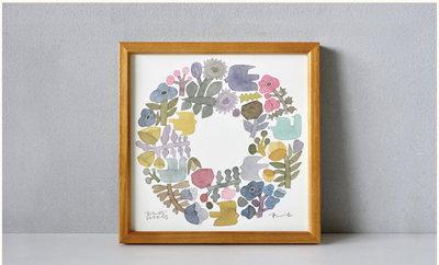 【代購】居家軟裝必備 日本 BIRDS' WORDS  淺色花圈 SHABBY WREATH 掛畫 20x20cm