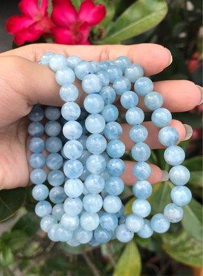 天然海藍寶手鍊8mm 海水藍寶石圓珠手鏈手珠手串手環 飾品配件《舒唯水晶》
