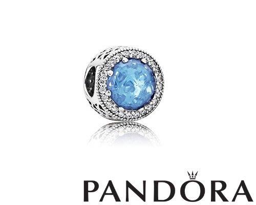 金永珍珠寶鐘錶*PANDORA 超經典熱賣款 PANDORA 潘朵拉 夏季熱賣 沁涼水藍圓鑽 原廠真品  現貨*