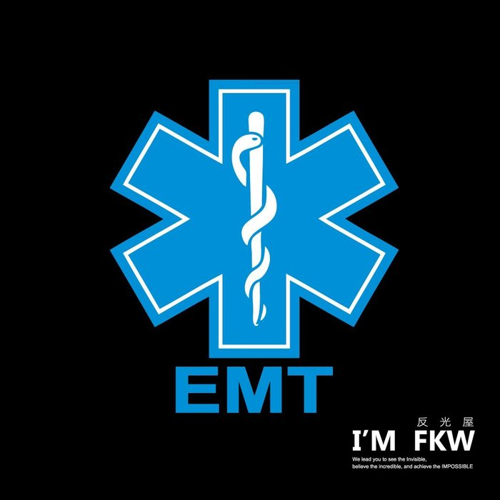 反光屋FKW EMT 救護員 急救員 緊急醫療技術員 反光貼紙 防水耐曬 3M工程級反光材料 網版印刷製作 非一般噴圖