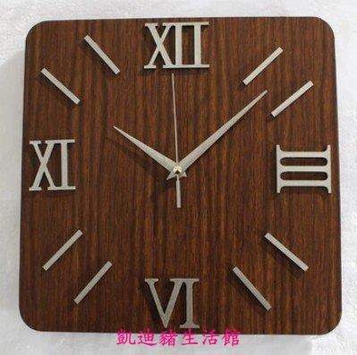 【凱迪豬生活館】全新 大氣樸素簡約掛鐘時尚創意立體時鐘錶牆面鐘木紋木頭掛鐘方形KTZ-201003