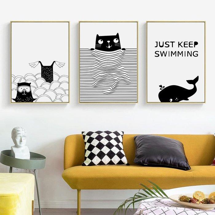 ☺暖暖屋☺傢居藝術館 北歐現代小清新黑白卡通裝飾畫/掛畫/有框畫/多款樣式/多種尺寸