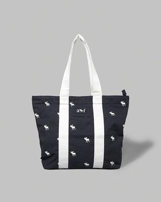 美國百分百【Abercrombie & Fitch】手提袋 肩背包 帆布 外出包 AF 麋鹿 女款 深藍 打折 H372