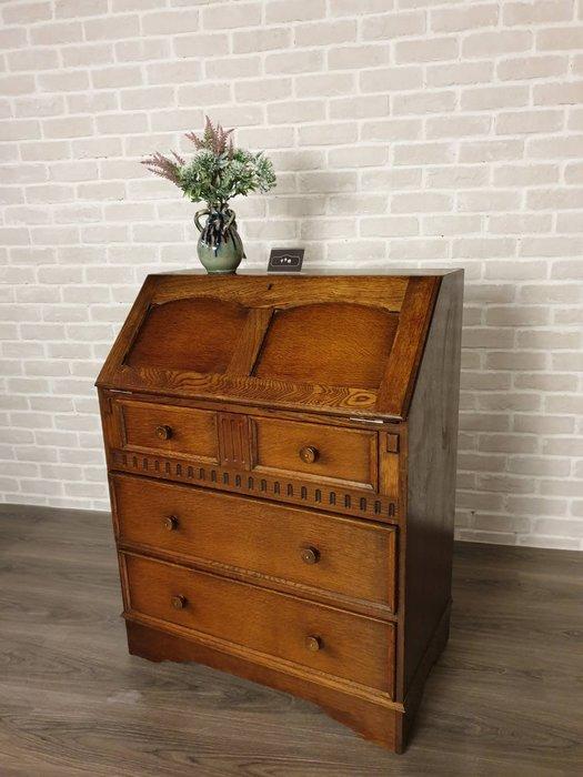【卡卡頌  歐洲古董】英國 ~ 橡木雕刻  皮桌面  可下掀  寫字桌  書桌  寫字櫃  化妝桌 ca0238
