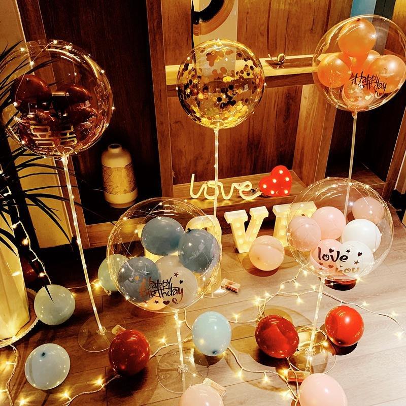 千禧禧居~網紅燈光波波球氣球裝飾創意結婚房生日派對場景布置求婚告白用品