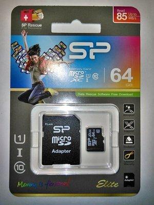 [黑卡] SP小記憶卡TF(micro SD) 64G(64 G GB)(Elite 85)C10 U1廣穎電通終身保固