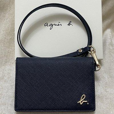 全新 agnes b 深藍色 藍色 照片層 草寫b 證件夾 證件套 識別證套 名牌夾 名片夾 卡夾 防刮 牛皮 保證正品