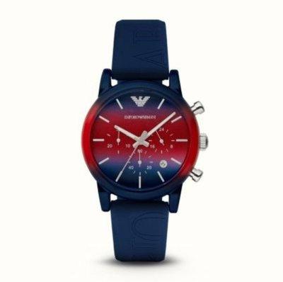 Emporio Armani 全新 主打新色 紅X藍漸層 三眼計時腕錶 現貨一個 特價4700元