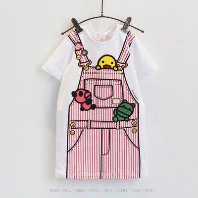 出清不退換~女童T恤。ROUROU。夏女童中小童長版印花假吊帶短袖T恤 上衣  0221-151