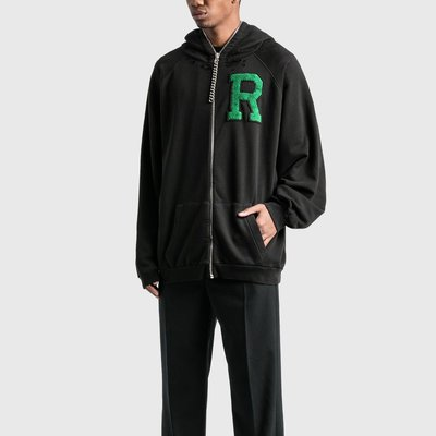 Raf Simons - Badge And Print Oversized Zipped Hoodie 男R貼布鏈條墜飾連帽外套 折扣代購中