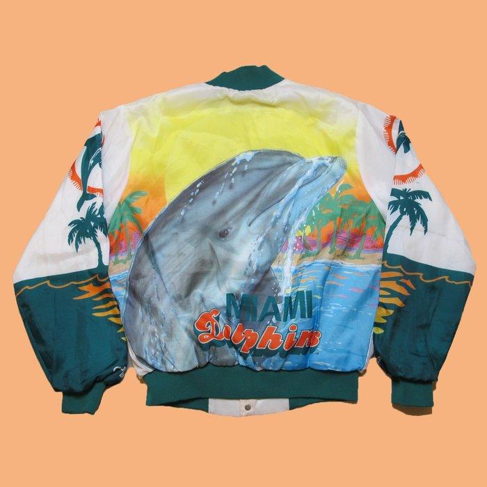 JCI:Vintage Chalk Line NFL 邁阿密 海豚隊 特殊染印棒球外套 嘻哈古著 / 90s / 南灘