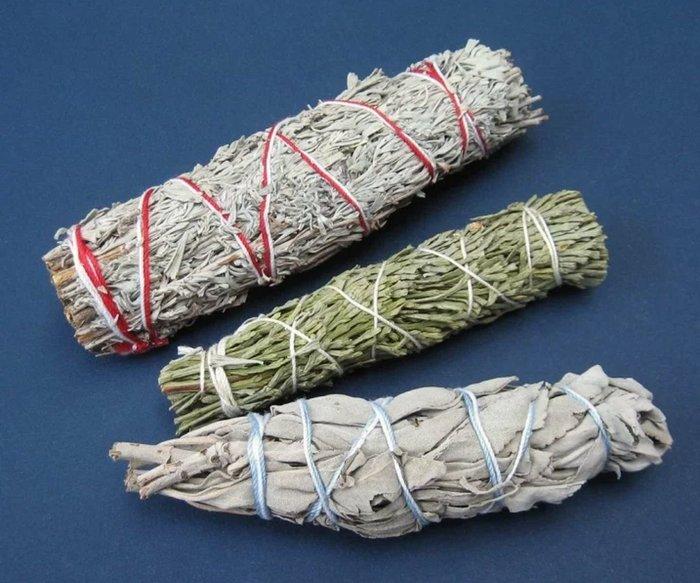【三越Garden】白色鼠尾草 藍色鼠尾草 雪松杖 組合套裝 美國加洲進口 淨化 招財 正能量  長度: 12mm