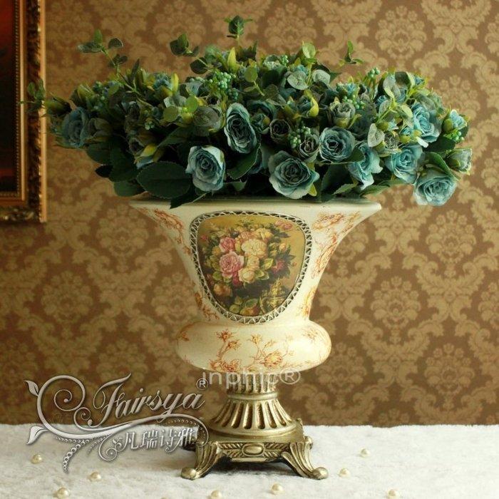 INPHIC-歐式家居擺設仿真植物花卉絹花藍色妖姬宮廷玫瑰花瓶套裝